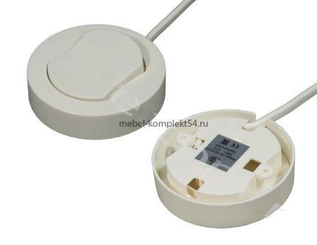 Выключатель накладной мебельный D66 мм,250B,2,5A H16мм,с проводом 0,2м белый