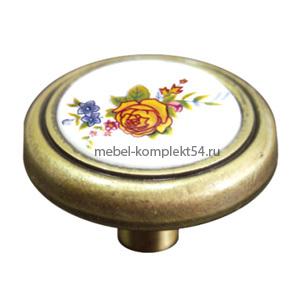 Ручка кнопка 733 ст. бр+крем 22