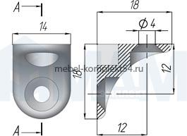 Полкодержатель с фиксацией д/дер. полок, никель