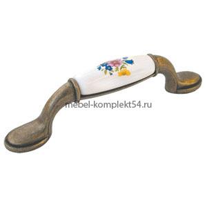 Ручка-скоба 741-96мм ст.бронза+син 01